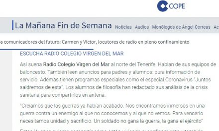 Especial Crisis Coronavirus: La COPE, en su emisión nacional, felicita a los alumnos y locutores por el trabajo realizado en Radio Colegio Virgen del Mar durante el confinamiento